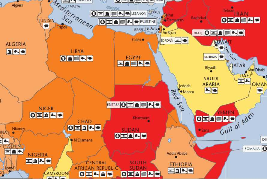 Areas affected by Arab Spring hot spots on Aons 2012 Political – Map of the Arab Spring